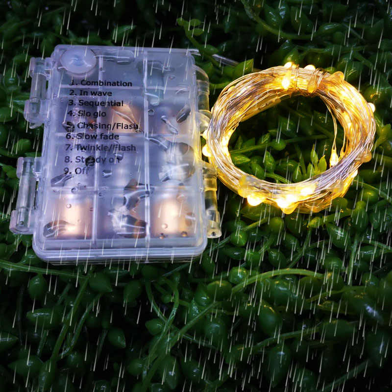 LED String Light Fairy light Battery waterproof Silver Wire Christmas Halloween USB Xmas Decoration Romantic lights 1/2/3/5/10M