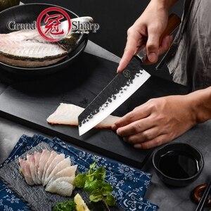 Image 2 - NEW 2019 GRANDSHARP Handmade Chef Knife Japanese Kiritsuke  Stainless Steel Slicing Kitchen Cooking Tools Wood Handle Gift Box