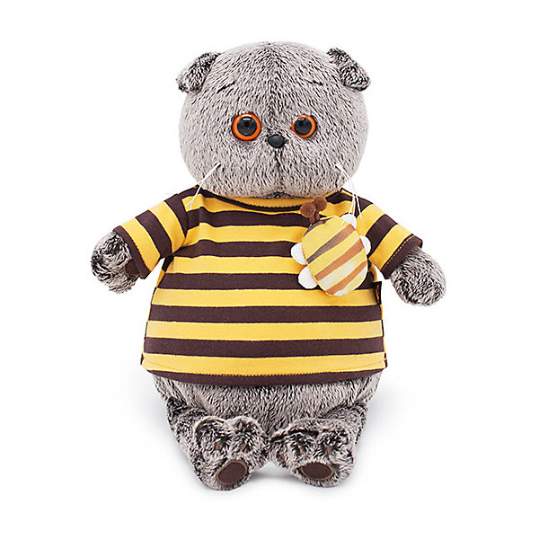Soft Toy Budi Basa Cat Basik In Striped T-shirt With Bee 19 Cm