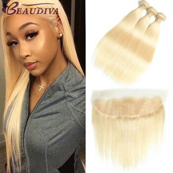 Beaudiva Brazilian Hair Weave Bundles 613 Blonde Bundles With Frontal 613 Straight Human Hair Bundles With Closure 13*4 Frontal