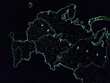 Map of the Russian Federation, glowing in the dark, wall, souvenir edition, in a tube