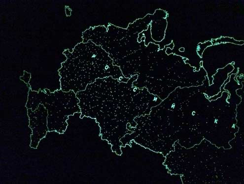Map Of The Russian Federation, Glowing In The Dark, Wall, Souvenir Edition