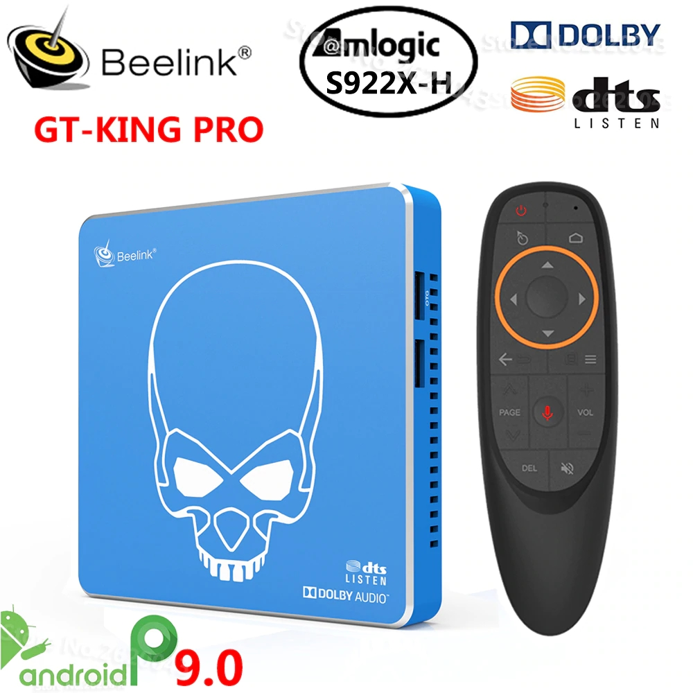 Beelink GT-King PRO TV Box Amlogic S922X-H Android 9,0 TV Box 4 Гб DDR4 64 Гб ROM Dolby Audio DTS Listen 4K HD Hi-Fi медиаплеер