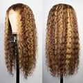 Светлые кудрявые волосы, парики из человеческих волос, волнистые, на шнуровке спереди, парик для женщин, короткий, Боб, парик с глубокой волн...