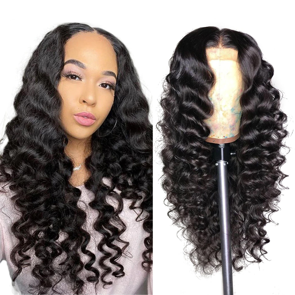 Indian 4x4 Loose Deep Lace Closure Wig Human Hair Wigs For Black Women  150% Density Glueless Lace Closure Wig