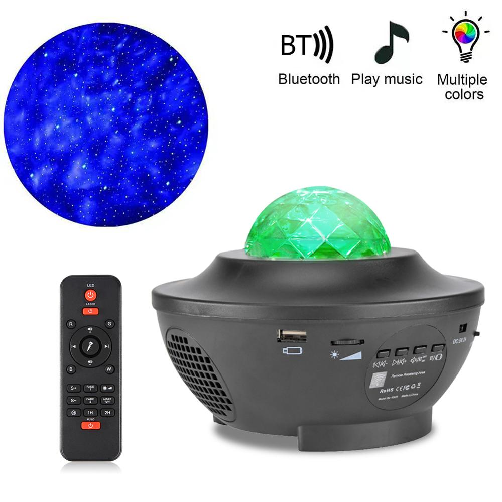 Starry Sky Projector Star Night Light Projection Colorful Ocean Waving Lights Children Night Lights Bedside Lamp For Kids