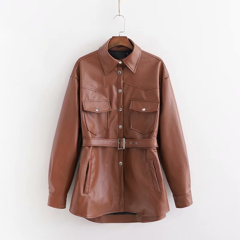 Obrix Female Faux Leather Formal Shirt  Square Collar Full Sleeve Assymetric Length Belt Pockets Shirt For Women
