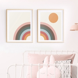 Mid Century Modern Rainbow Art Canvas Painting Prints Minimalist Rainbow & Sun Poster Retro Scandinavian Nursery Wall Art Decor