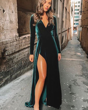 цена на Merryu Evening Dress Long Elegant Velour Prom Dress V neckline Party Gowns Vintage Formal Dress