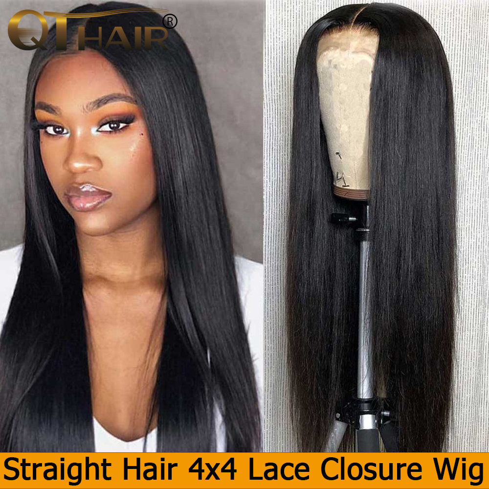 QT Brazilian Closure Wig Straight Hair 150% Density Pre Plucked With Baby Hair 4x4 Closure Wig 100% Remy Human Hair Wigs