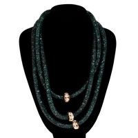 Women's jewelry mesh necklace with green crystals and gold insert (52299)