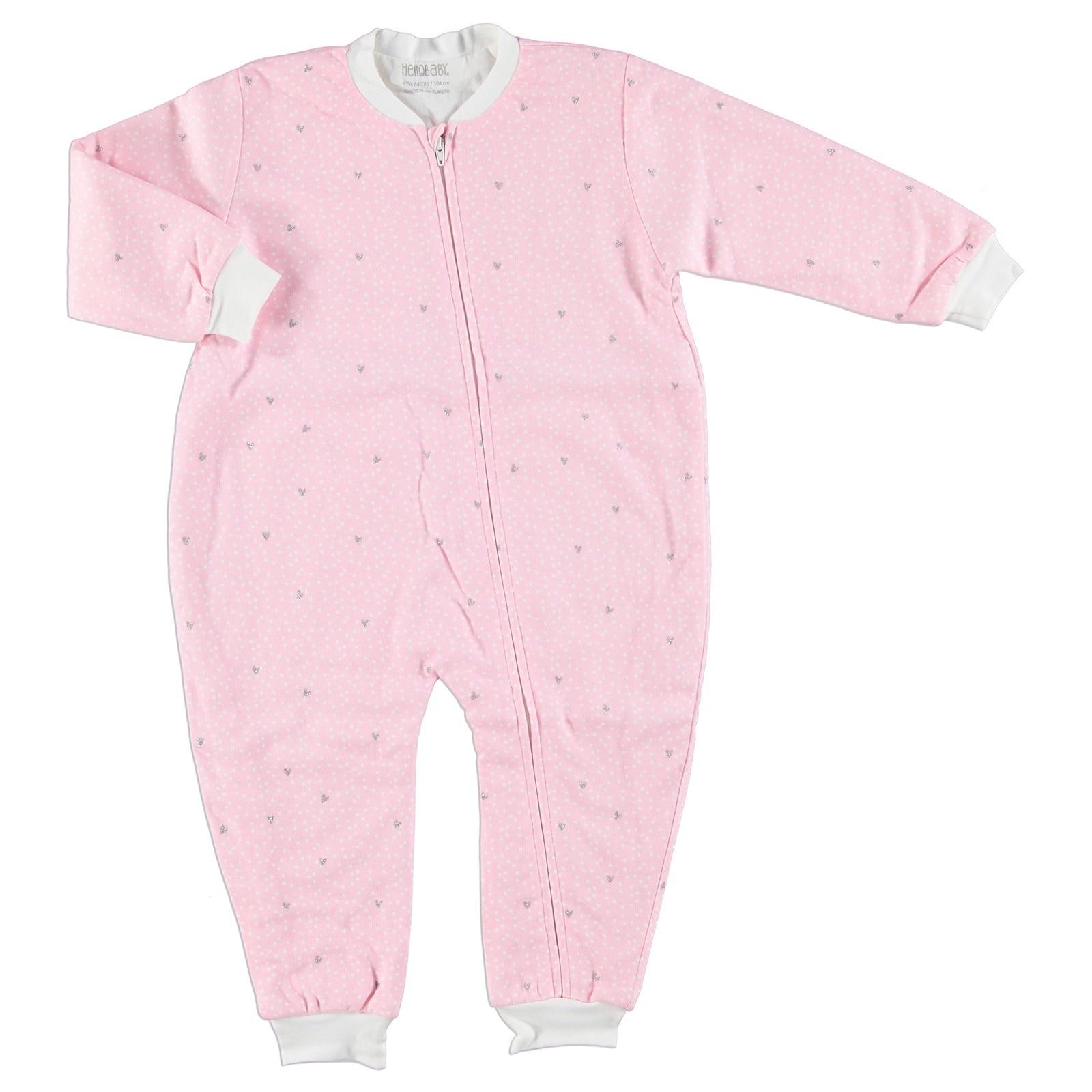 Ebebek HelloBaby Silvery Heart Printed Baby Sleepsuit Romper