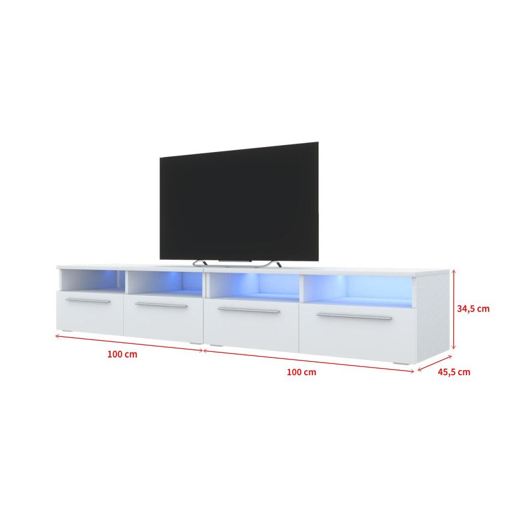 Selsey PHIRIS DOUBLE - Meuble tv / Banc tv (2x100 cm, blanc mat / blanc brillant, éclairage LED) 4
