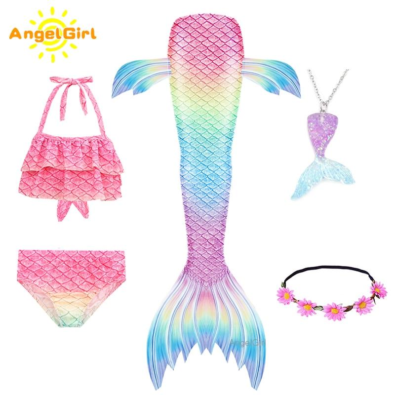 AngelGirl Meerjungfrau Schwanz Schwimmen Kostüme Cosplay Kostüm Für Urlaub Strand Kleidung Mermaid Badeanzug für Kinder Swimmable Kleider