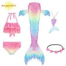 AngelGirl denizkızı kuyruğu yüzme kostümleri Cosplay kostüm tatil plaj giysileri Mermaid mayo çocuklar için yüzücü elbiseler
