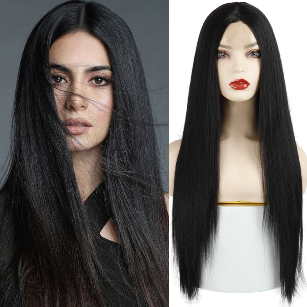AZQUEEN Long Straight Black Wig Synthetic Wigs for Women Natural Middle Part Wig Heat Resistant Fiber Natural Looking Wig