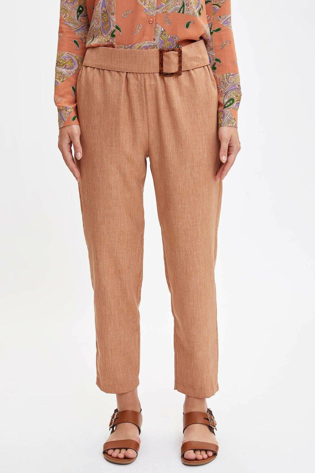 DeFacto Woman Khaki Color Long Pants Women Cargo Pants Female Stylish Belt Decors Spring Woven Trousers-L7631AZ19HS