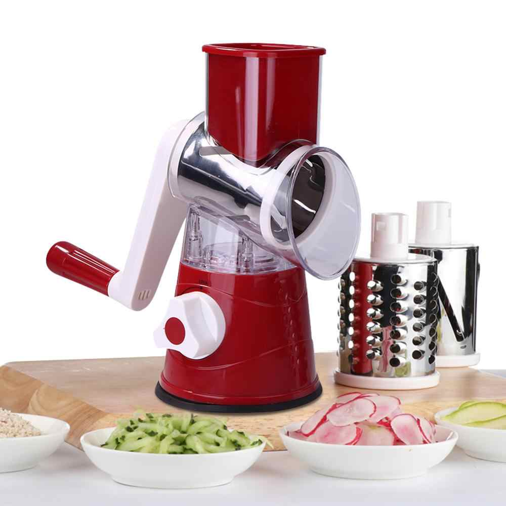 Manual Vegetable Cutter Alat Pemotong Multifungsi Bulat Mandoline Slicer Kentang Keju Buah Mesin Penghancur Parutan Dapur Food Processor