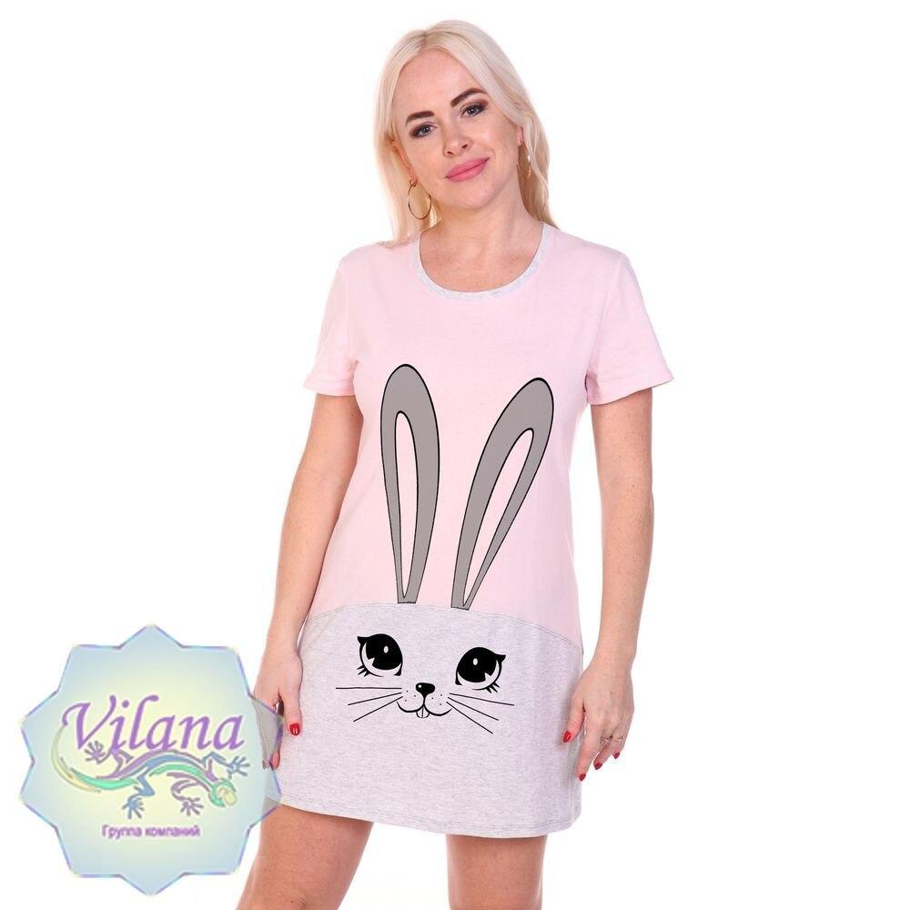 Туника Кролик кулирка, 100% хлопок, домашний трикотаж, Вилана|Футболки| | АлиЭкспресс