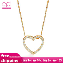 цена на Jewelry Boho Necklace Heart-shaped Zircon Crystal choker Chain Clavicle Sweater Chain Women Heart Rhinestone gold Silver Pendant