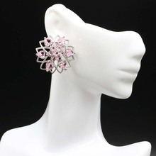 Vintage Pink Tourmalins, White CZ Woman's Wedding Silver Earrings 41x14mm