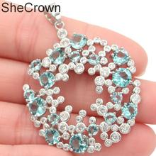 51x38mm Pretty Created Hollow Sky Blue Topaz White CZ Gift For Womans Silver Pendant