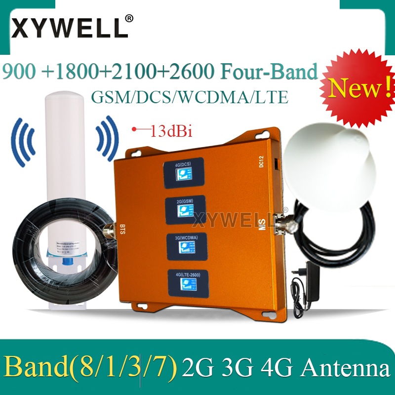Hot! 900 1800 2100 2600mhz Cell Phone Booster Four Band Mobile Signal Amplifier 2G 3G 4G LTE Cellular Repeater LTE GSM DCS WCDMA