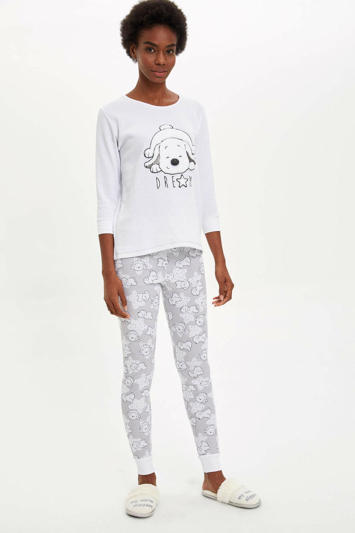 DeFacto Woman Winter White Pajamas Set Women Cute Dog Prints Knitted Homewear Sets Female Tops Long Pants Bundles-M8663AZ19WN
