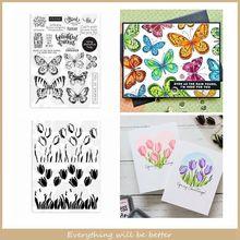 Motyl trawa tulipan przezroczysty silikon zestaw znaczków dla DIY scrapbookingu kart Album zdjęcia rzemiosło nowy 2020 pieczęć pieczęć gorący szablon tanie tanio Cutting Dies With Stamps New 2020