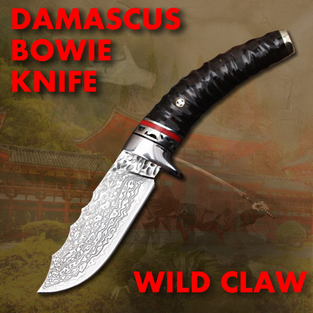 Hunting Knife Fixed Blade Damascus Steel Bowie Knife straight knives BBQ Tools Utility Tactical Portable Carry multi-purpose image