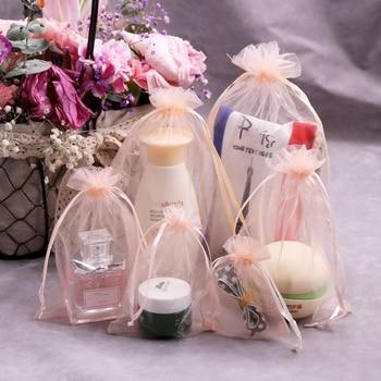 100 unids/lote color champán lazo bolsa de Organza pequeñas bolsas joyería bolsas de paquete de boda de regalo de embalaje bolsas