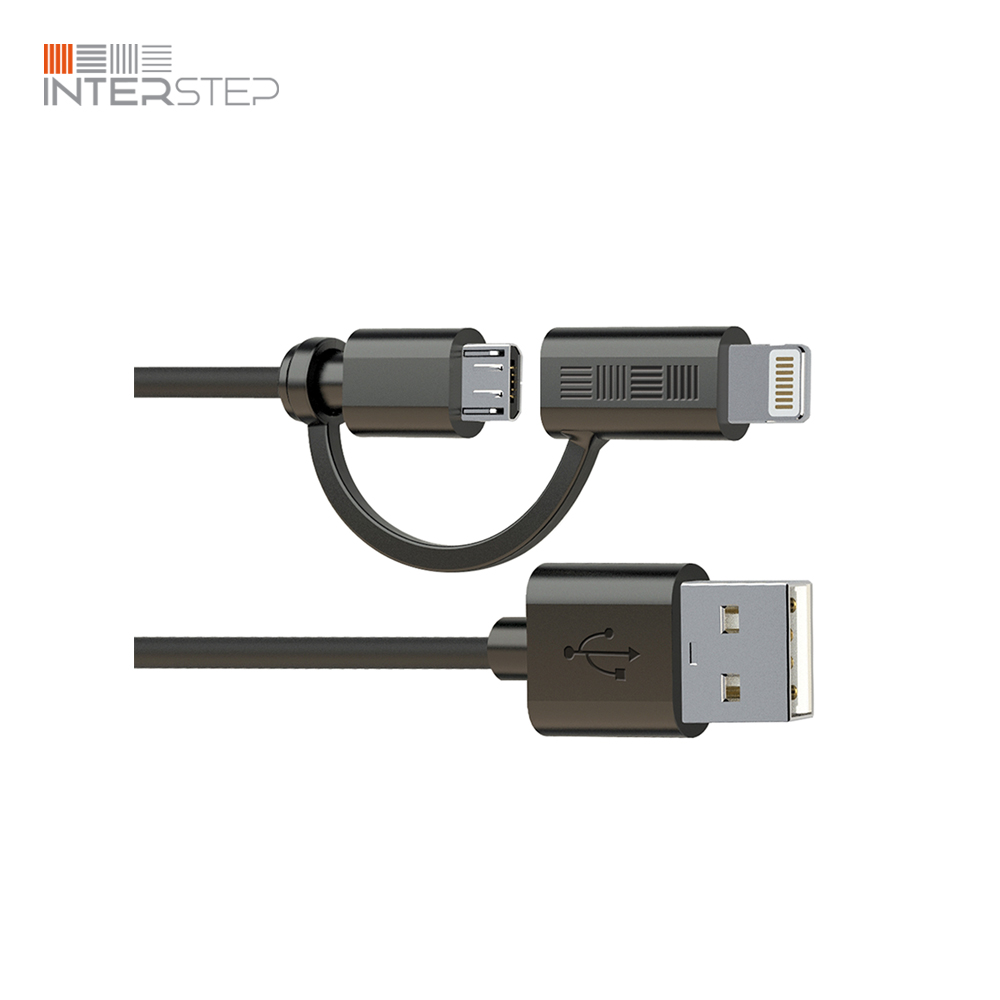 цена на Cable INTERSTEP MicroUSB + iPhone/iPad 8Pin MFI, 1 Meter