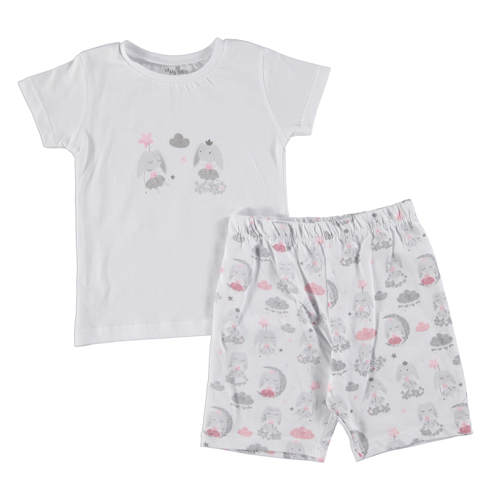 Ebebek For My Baby Rabbit Printed Short Sleeve Girl Pyjamas