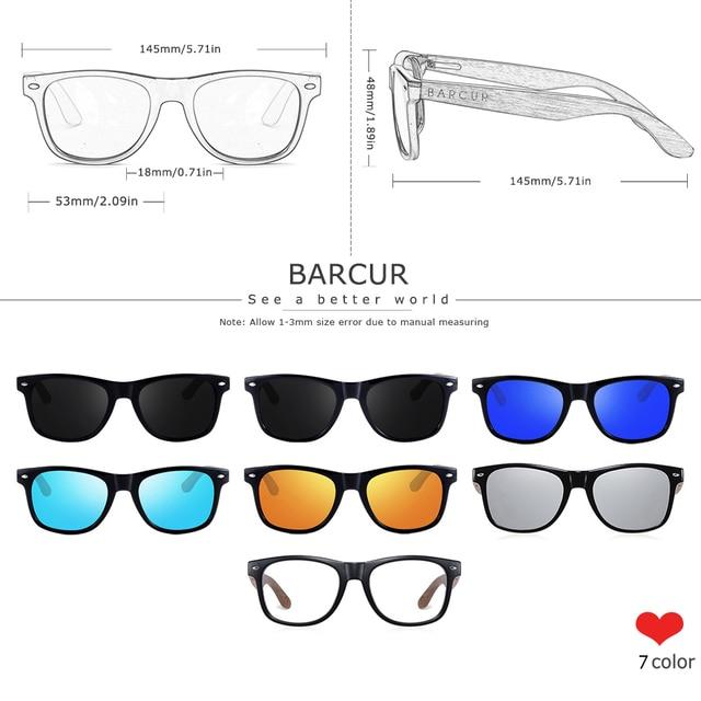 BARCUR High Quality Black Walnut Sunglasses Anti-Reflecti Men Women Mirror Sun Glasses Male UV400 Wooden Sunglass Shades Oculos 2