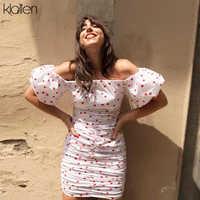 KLALIEN Sexy Off Schulter Kurzarm Herz Druck Kleid Engen Stil Kurze Party Faltig Kleid 2018 Neue Sommer Süße mädchen kleid