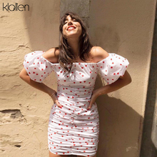 KLALIEN Sexy Off Shoulder Short Sleeve Heart Print Dress Tight Style Short Party
