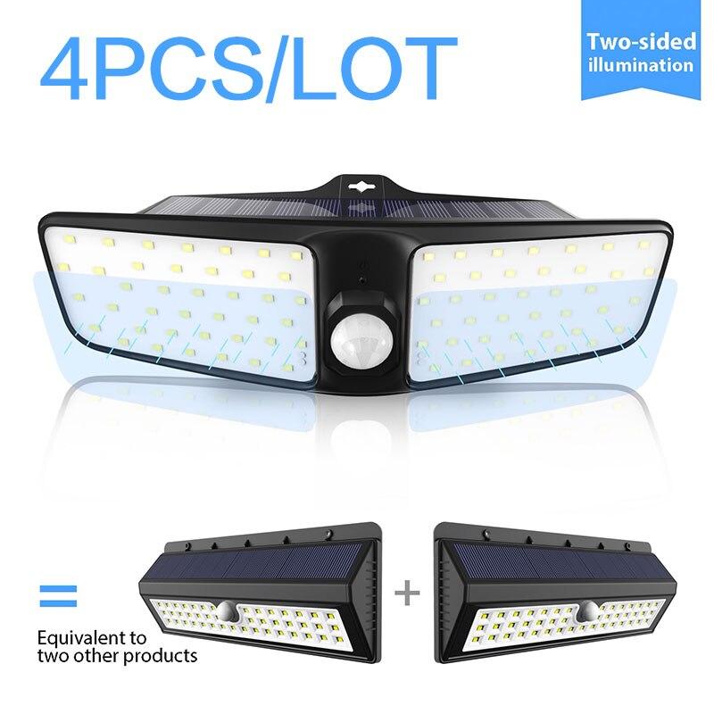 Date 4 pièces 80 LED 3 Modes jardin lampes LED solaires extérieur solaire applique étanche IP65 solaire économie d'énergie sécurité lumière