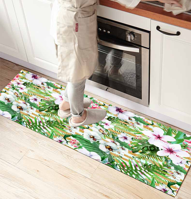 Else White Flowers Tropical Green Leaves 3d Print Non Slip Microfiber Kitchen Counter Modern Decorative Washable Area Rug Mat