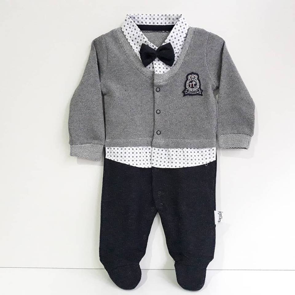Lux Crested Papyonlu Gray Laci Baby Boy Rompers