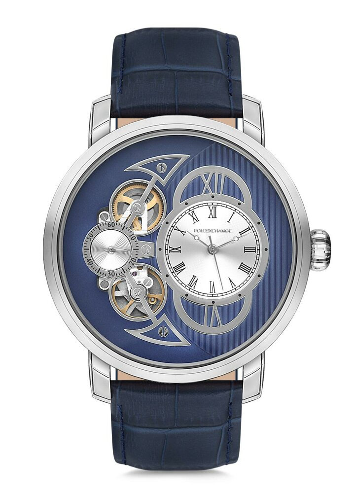 Polo Exchange PX028-07 Men's Watch, 46 mm Super Metal Case, Navy Blue Leather Strap, 3 ATM Water Resistant Mineral Glass