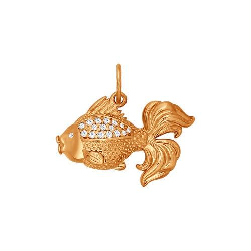 Shaped Pendant Gold Fish SOKOLOV, Fashion Jewelry, Silver, 925, Women's Male, Pendants For Neck Women