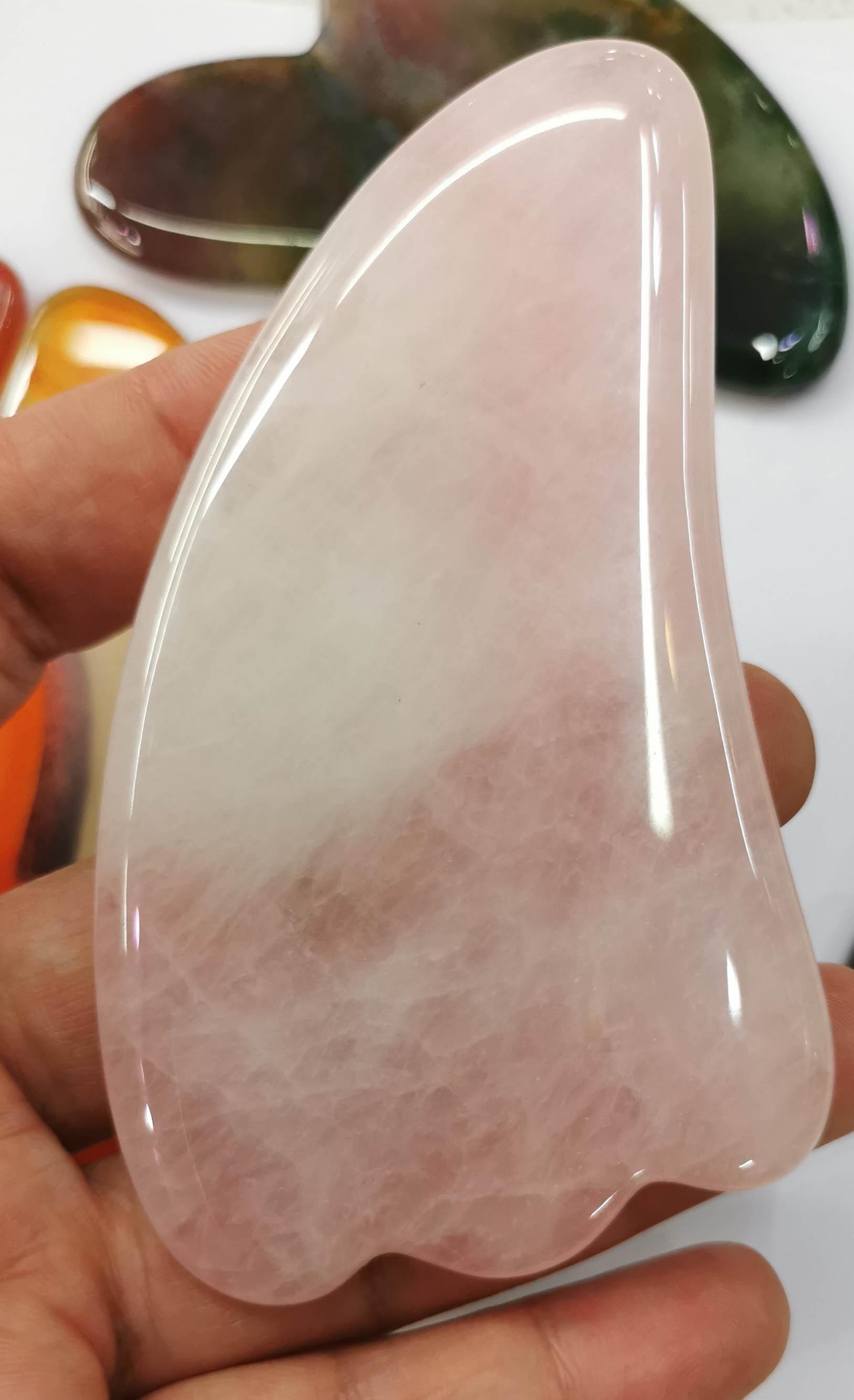 High Quality Genuine Rose Quartz Gua Sha Tool-onyx-agate-indian Agate Gemstone Stone Handmade