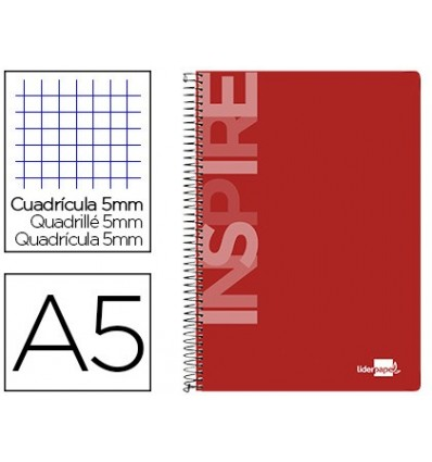 SPIRAL NOTEBOOK LEADERPAPER A5 MICRO INSPIRE HARDCOVER 160H 60 GR TABLE 5MM 5 BANDS 6 DRILLS COLOR NETWORK
