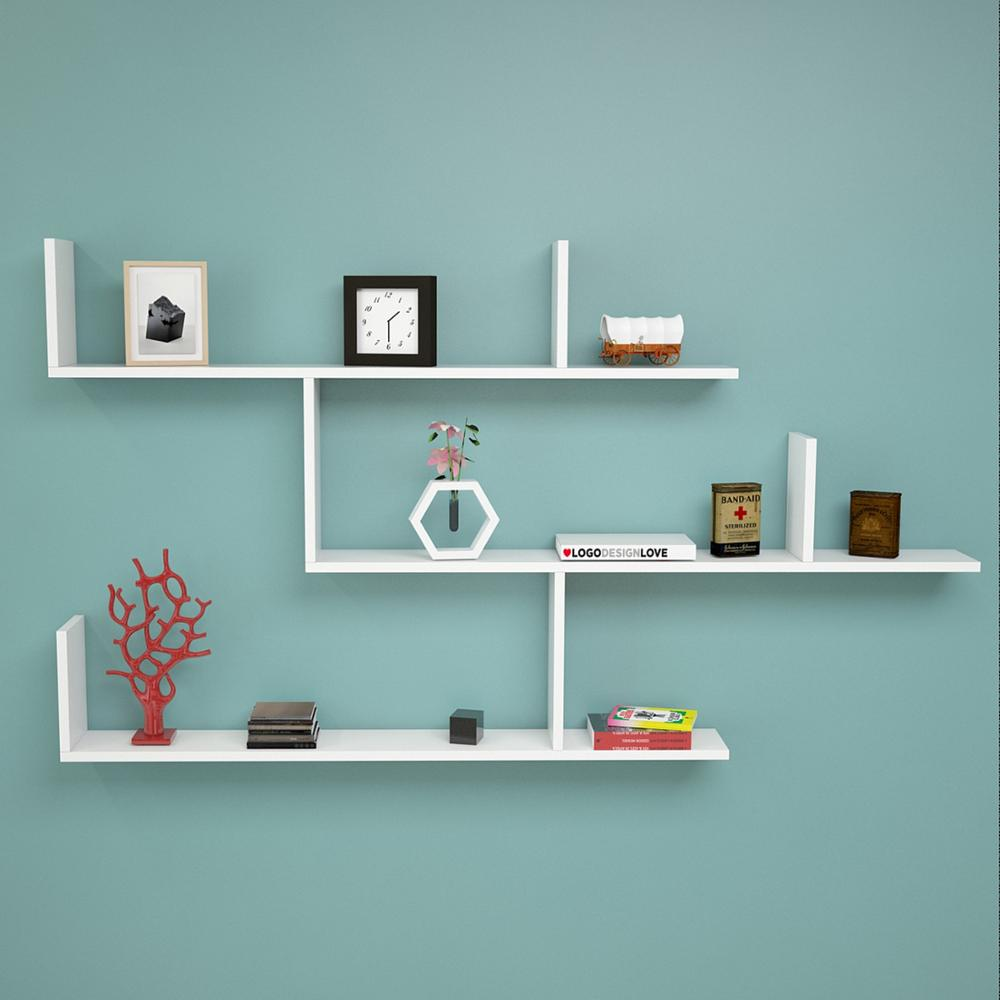 Shelf&Shelf MADE IN TURKEY Modern Shelf  White Living Room Wood Wall Book Holder Organizer Bookshelf Rack Bookcase