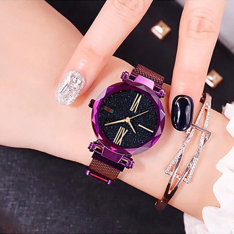 Luxury Rose Gold Women Watches Minimalism Starry sky Magnet Buckle Fashion Casual Female Wristwatch Waterproof Roman Numeral 6