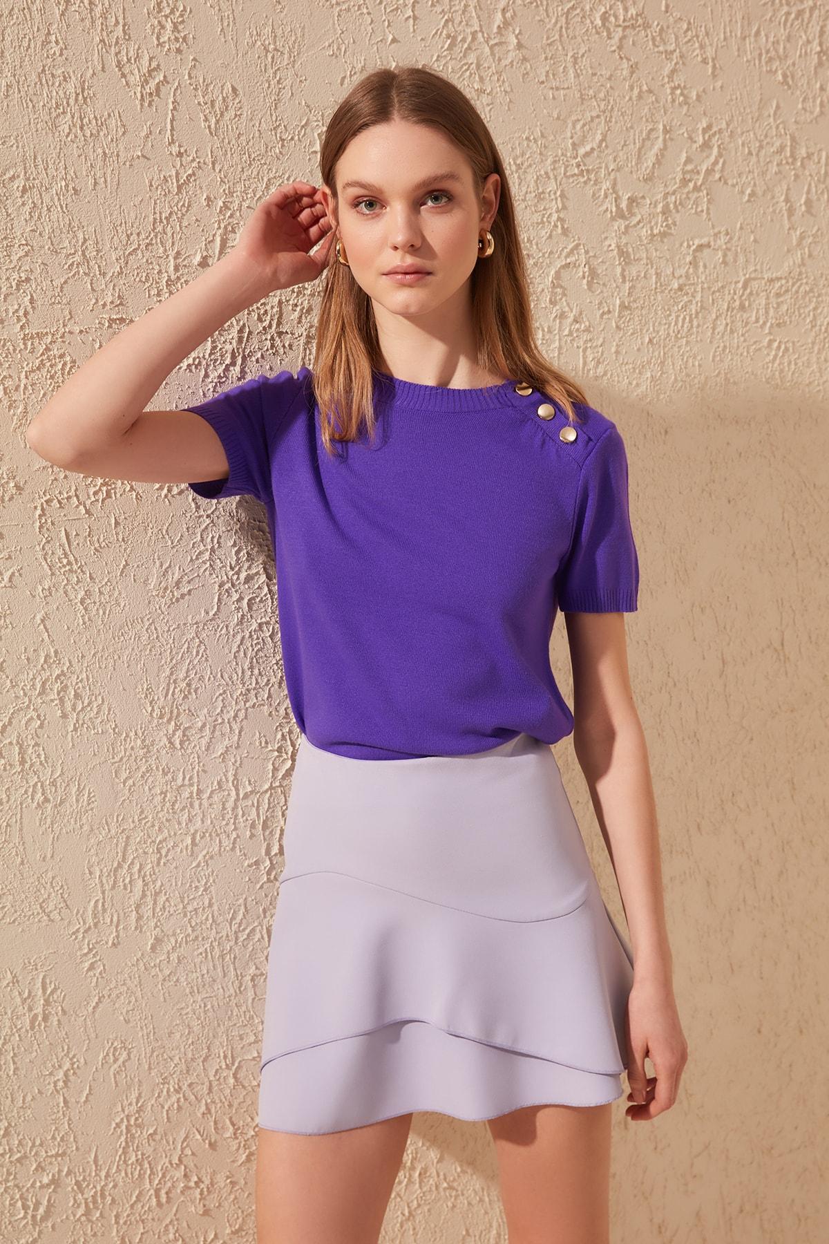 Trendyol Purple Button Knitwear Sweater TWOSS19IS0039