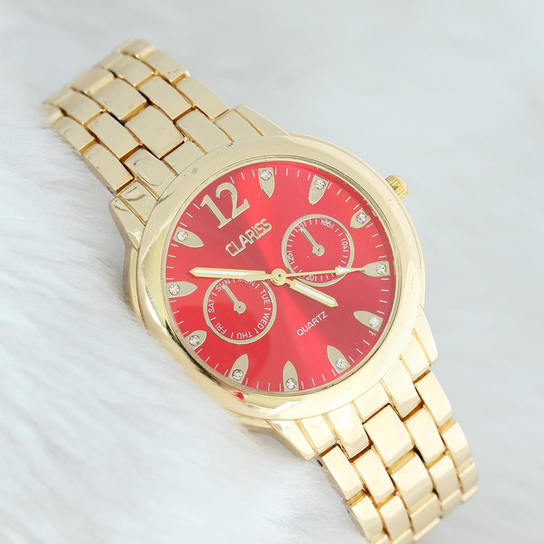 Clariss Gold Color Red Dial Metal Women 'S Wrist Watch. Water-Proof (Hand/Face Wash) Gift Sports Evening Women Clock.