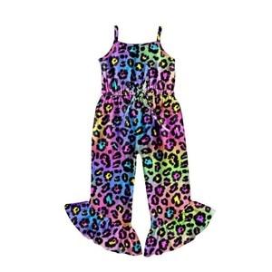 Новый Модный милый комбинезон без рукавов с леопардовым принтом для новорожденных и маленьких девочек; Детская одежда