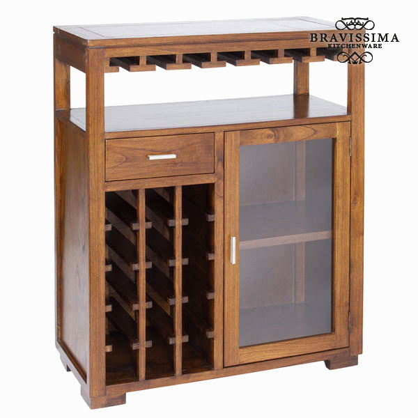 Furniture Bottle Rack Mindi Wood (110 X 90 X 40 Cm) - Serious Line Collection By Bravissima Kitchen