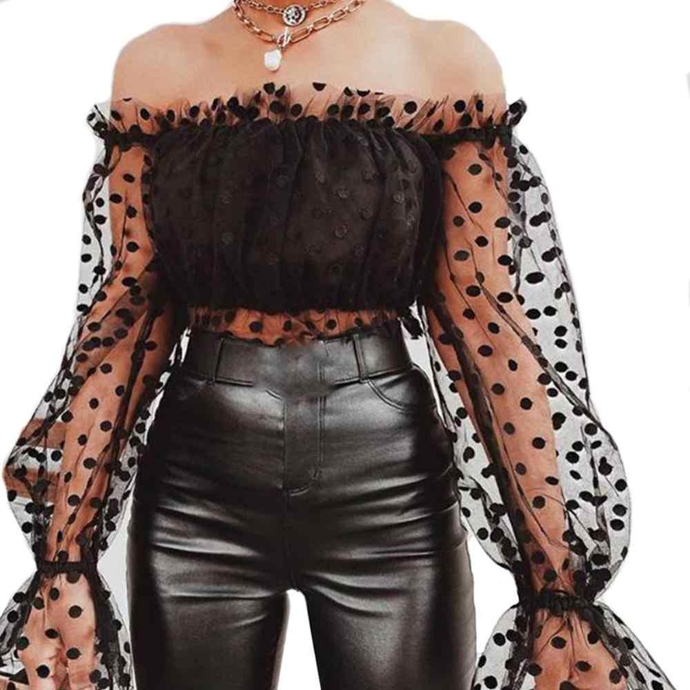 2020 Retro kobiety bluzka koszule Polka Dot Sheer długi rękaw bufka krótkie bluzki Bodycon Sexy letnie bluzki koszule damskie